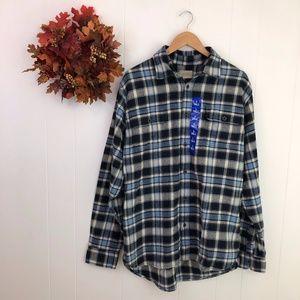 Jachs Men's Blue Plaid Flannel Button Down Shirt